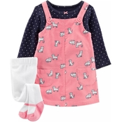 Carter's Infant Girls Polka Dot Tee and Cat Jumper 3 pc. Set