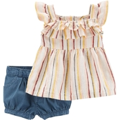 Carter's Infant Girls Striped Linen Tank and Denim Shorts 2 pc. Set