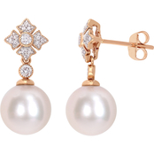 Michiko 10K Rose Gold 1/5 CTW Diamond and Cultured Pearl Vintage Drop Earrings
