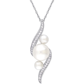 Michiko 10K White Gold 1/8 CTW Diamond and Cultured Pearl Twist Necklace