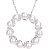 Michiko Sterling Silver 1/5 CTW Diamond and Cultured Pearl Circle Necklace