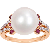 Michiko 10K Rose Gold 1/7 CTW Diamond Cultured Pearl and Ruby Split Shank Ring
