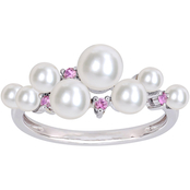 Michiko 10K White Gold Multi Size Cultured Pearl and Pink Sapphire Ring