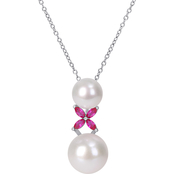 Michiko Sterling Silver Cultured Pearl and Created Ruby Necklace