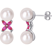 Michiko Sterling Silver Freshwater Cultured Pearl and Created Ruby Drop Earrings