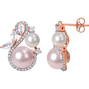 Michiko 10K Rose Gold 1/3 CT Diamond, Cultured Pearl and White Topaz Swirl Earrings