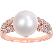 Michiko 10K Rose Gold 1/6 CTW Diamond and Cultured Pearl Leaf Ring