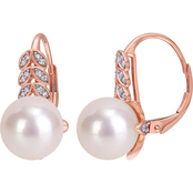 Michiko 10K Rose Gold 1/6 CTW Diamond and Freshwater Cultured Pearl Leaf Earrings