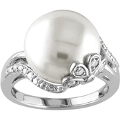 Michiko Sterling Silver Cultured Pearl and Diamond Accent Ring