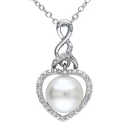 Michiko Sterling Silver Cultured Pearl and Diamond Accent Heart Infinity Necklace