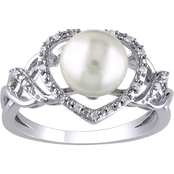 Michiko Sterling Silver 1/10 CTW Diamond and Cultured Pearl Heart Infinity Ring