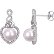 Michiko Sterling Silver 1/10 CTW Diamond and Cultured Pearl Heart Infinity Earrings