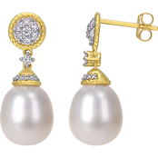 Michiko 14K Yellow Gold 1/3 CTW Diamond and Freshwater Cultured Pearl Drop Earrings