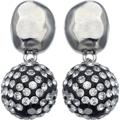 jules b Clear Crystal Pave Drop Earrings