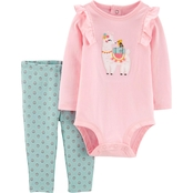 Carter's Infant Girls Lllama Bodysuit and Pants 2 pc. Set