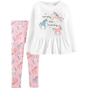 Carter's Infant Girls Unicorn Peplum Top and Leggings 2 pc. Set