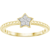She Shines Sterling Silver & 14k Plated 1/20 Ctw Diamond Star Ring