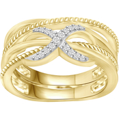 She Shines 14K Yellow Gold Over Sterling Silver 1/10 CTW Diamond Crossover Ring