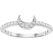 She Shines Sterling Silver Diamond Accent Crescent Moon Ring