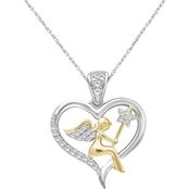 She Shines Sterling Silver & 14k Plated 1/7 Ctw Diamond Angel Heart Pendant