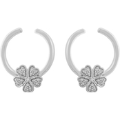Sterling Silver Diamond Accent Flower Front Facing Hoop Earrings