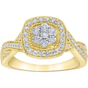 10K Yellow Gold 1/2 CTW Diamond Fashion Ring, Size 7