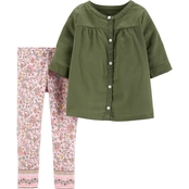Carter's Toddler Girls Sateen Top and Floral Leggings 2 pc. Set