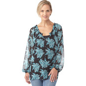 Passports Allover Print Peasant Top with Tank Top