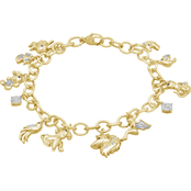 Animal's Rock Sterling Silver over 14K Goldtone 1/7 CTW Diamond Charm Bracelet