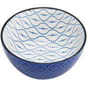 Pfaltzgraff 6in Blue Geometric Floral Embossed Bowl