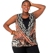 Avenue Plus Size Animal and Ikat Print Faux Layered Top