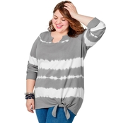 Avenue Plus Size French Terry Tie Front Tie Dye Sweatshirt