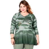 Avenue Plus Size Dream, Believe, Achieve Green Ombre Camo Sweatshirt
