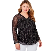 Avenue Plus Size Floral Print Smocked Lined Mesh Top
