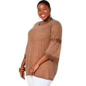 Avenue Plus Size Oil Wash Crochet Trim Bell Sleeve Tunic