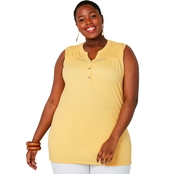 Avenue Plus Size Smocked Popover Tunic