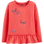 OshKosh B'Gosh Toddler Girls Drop Shoulder Peplum Little Poppy Butterfly Top