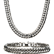 INOX Stainless Steel Men's Curb Chain and Bracelet Set