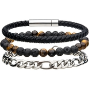 INOX Stainless Steel Men's Multi Bracelet Set