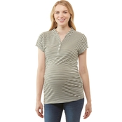 Planet Motherhood Maternity Striped Henley Tee