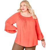 Avenue Plus Size Smocked Neck Flutter Sleeve Top