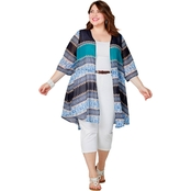 Avenue Plus Size Blue and Turquoise Print Duster