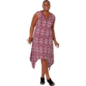 Avenue Plus Size Geometric Print Caged V Neck Sharkbite Hem Dress
