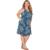Avenue Plus Size A Line Blue Paisley Dress