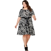 Avenue Plus Size Scroll Puff Print Fit and Flare Dress