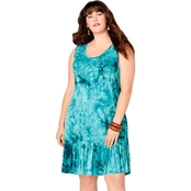 Avenue Plus Size Tie Dye Flounced Dress