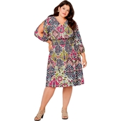 Avenue Plus Size Tapestry Print Crepe Dress with Split Sleeves