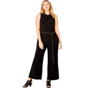 Avenue Plus Size Jumpsuit with Chain Belt