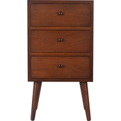 Decor Therapy Mid Century 3 Drawer Wood Side Table