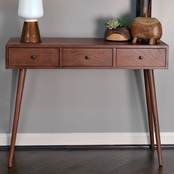 Decor Therapy Mid Century 3 Drawer Wood Console Table